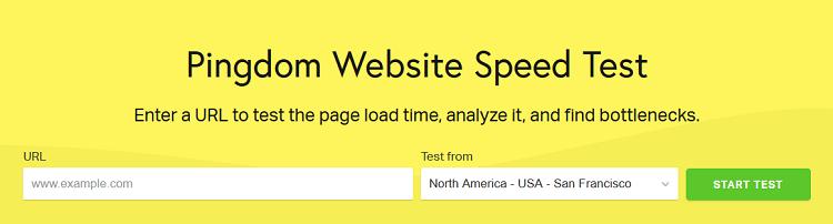 pingdom site speed tool