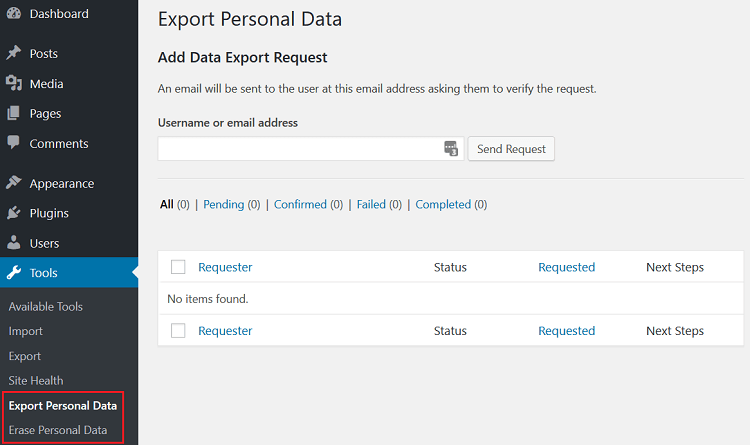 data export and erase - wordpress gdpr compliance