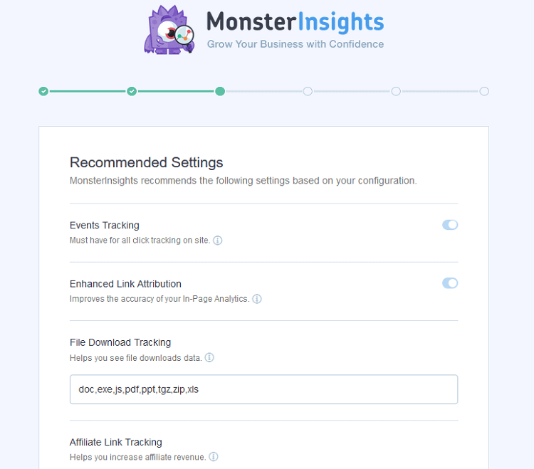 monsterinsights settings