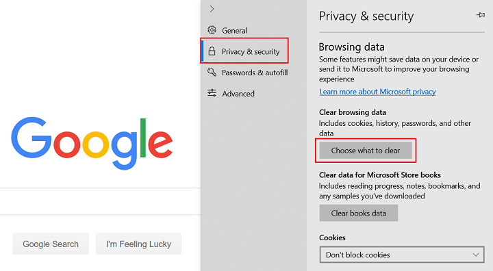 choose what to clear Microsoft edge