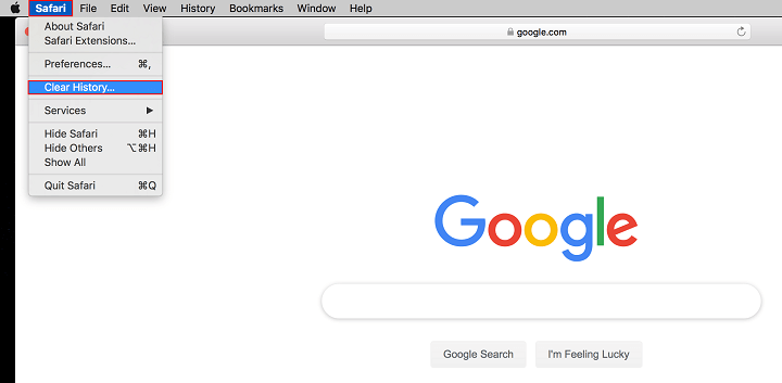 clear browser history in safari
