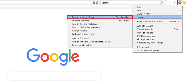 clear browsing history in internet explorer