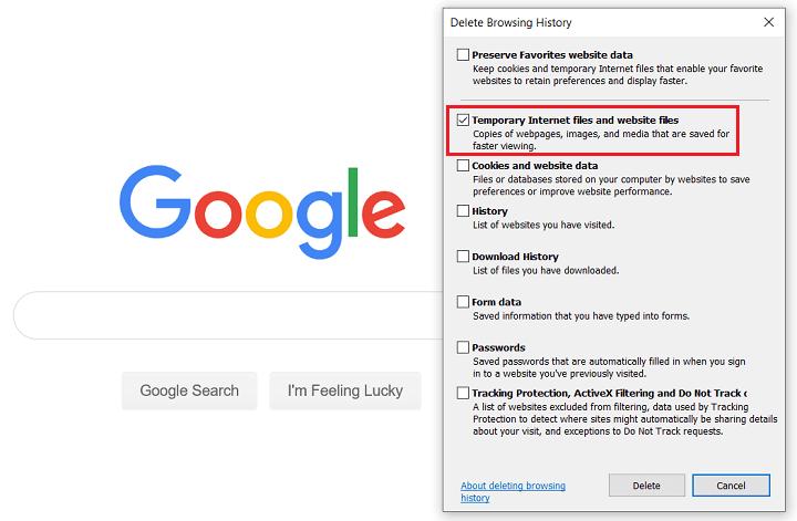clear cache in internet explorer