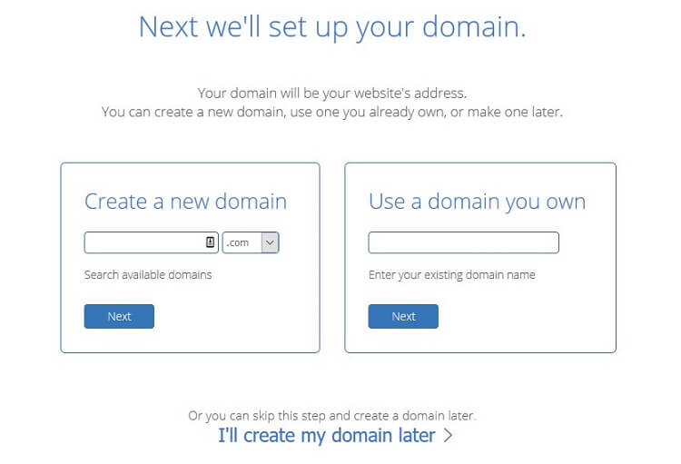 create or enter domain name