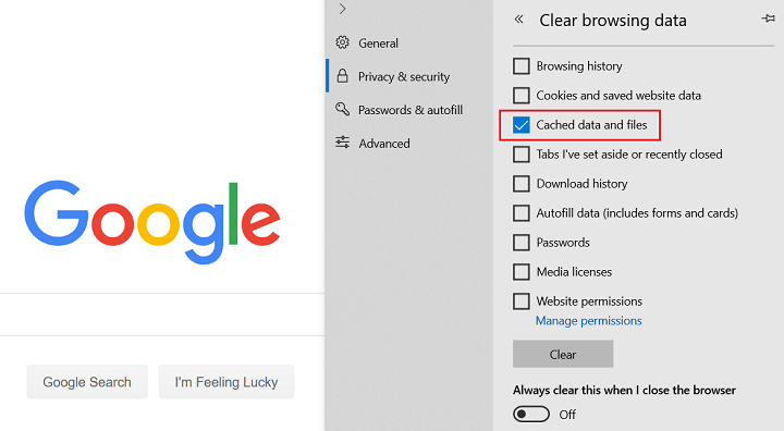 data browsing clear options in Microsoft edge