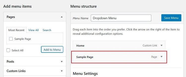 added sub item to dropdown menu