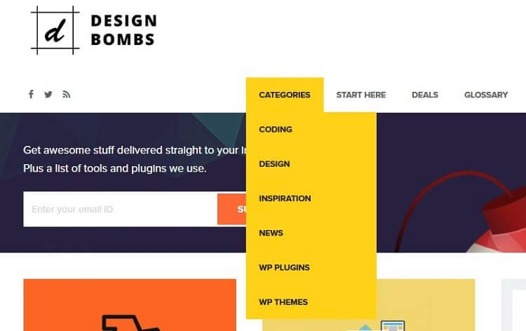 design bombs categories dropdown menu