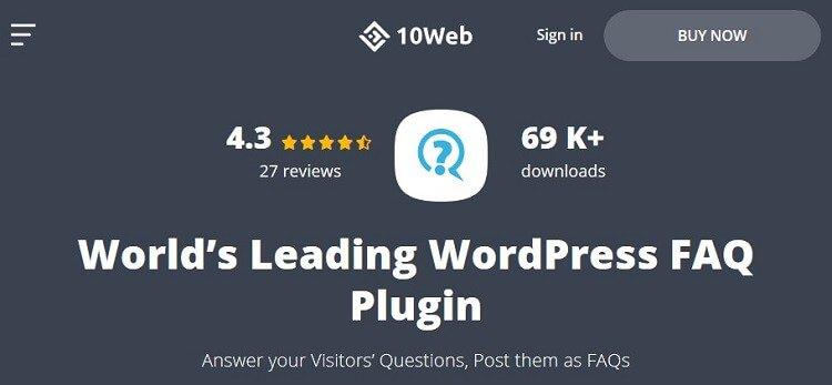 faq plugin by 10web