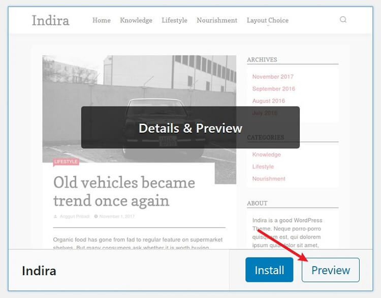 live preview in theme - backend of wordpress