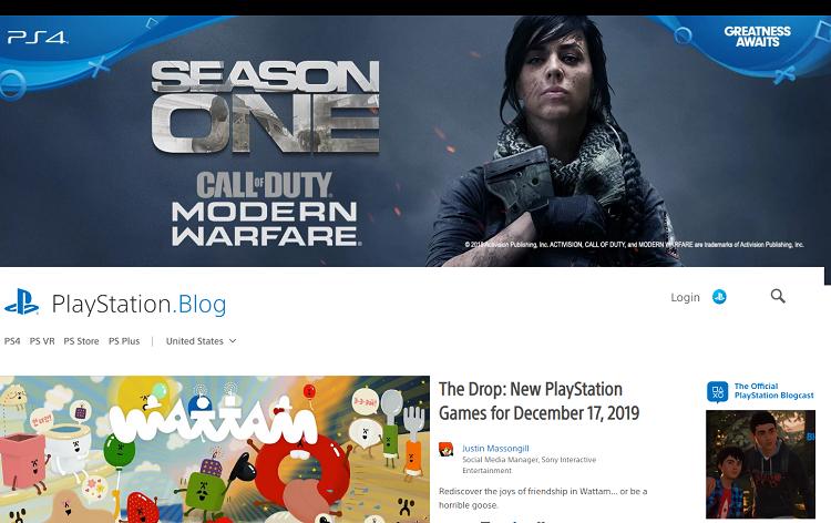 Big brands using WordPress: Playstation blog