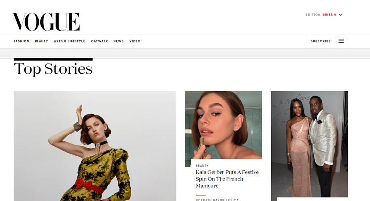 Big brands using WordPress: Vogue