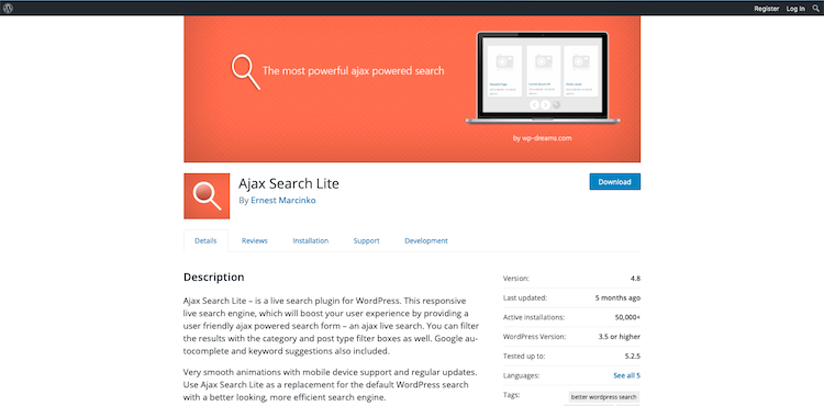 Ajax Search Lite: search plugin