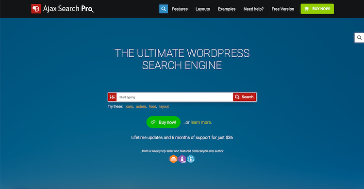 Ajax Search Pro: search plugins for WordPress