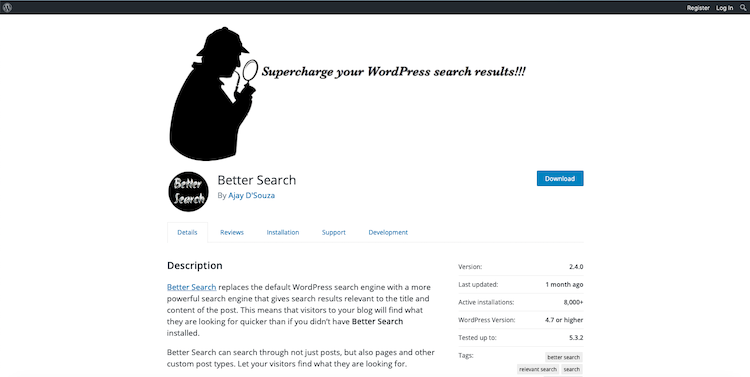 Better Search: search plugins for WordPress