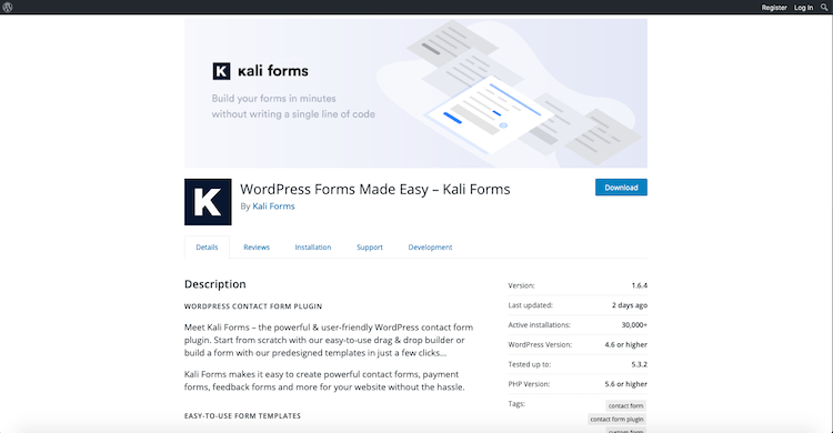 Kali Forms:  best contact form plugins