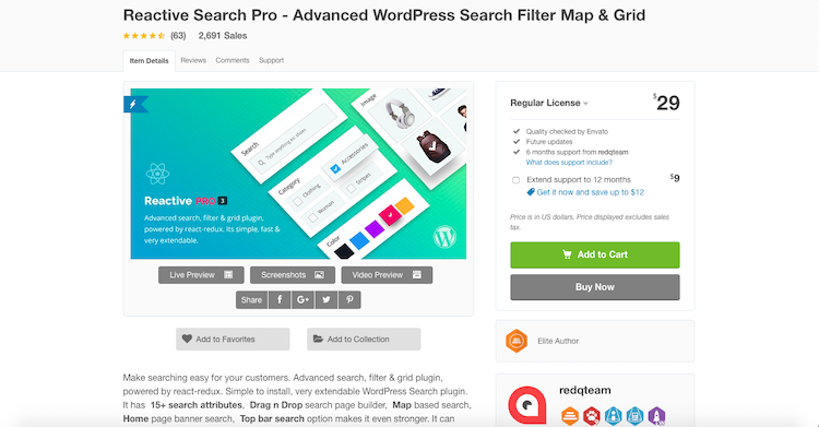 Reactive Search Pro: search engine plugins for WordPress